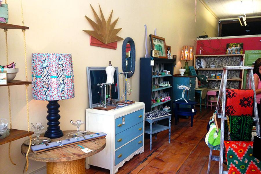 Colorful furniture and decor at Adourn boutique