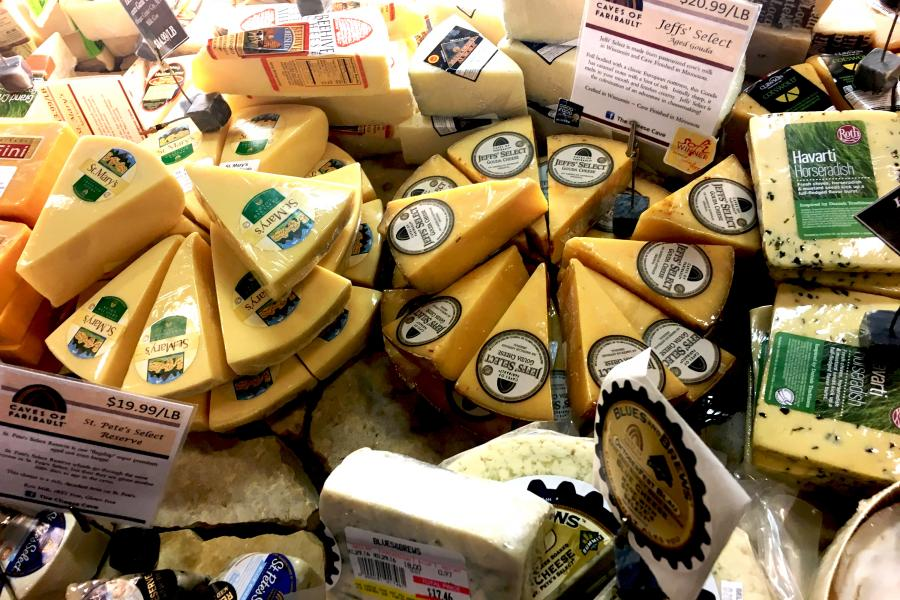 Assorted cheeses at The Cheese Cave