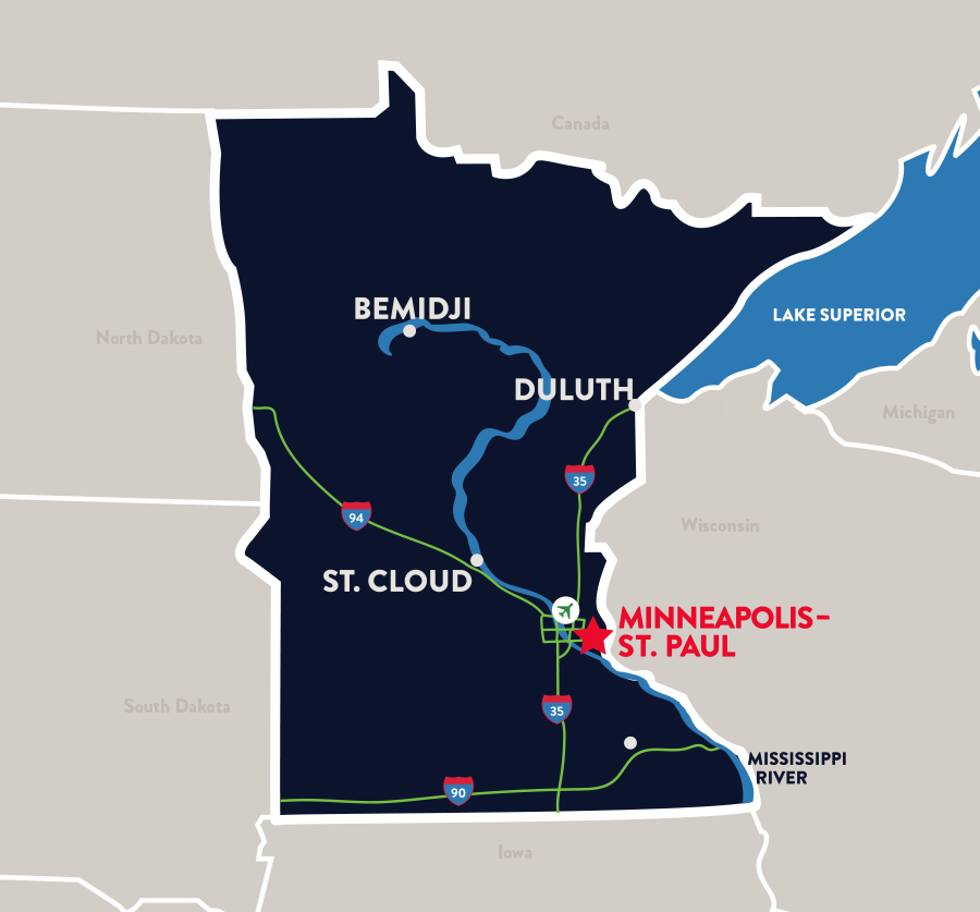 Minnesota's major cities can be reached easily by main highways and thoroughfares