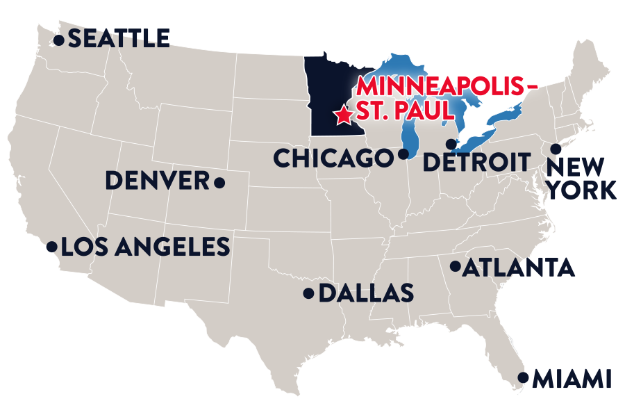 Minnesota is located in the northern part of the United States, nestled between the Dakotas and Wisconsin