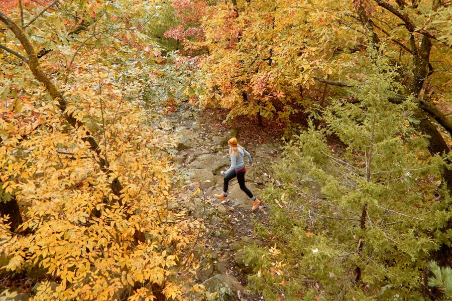 Woman hiking at Afton State Park in the fall