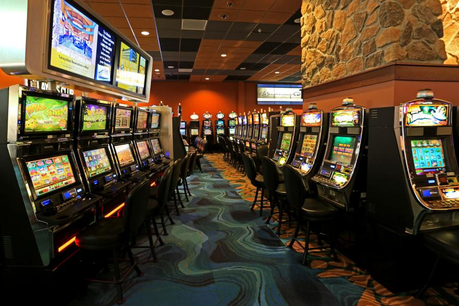 Row of slot machines at Seven Clans Casino in Warroad