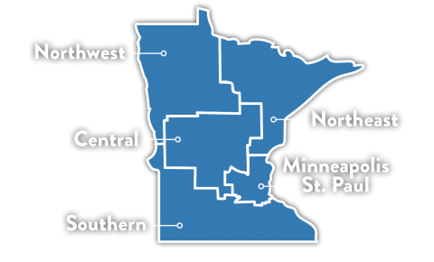 Illustration of the state of Minnesota with each region outlined