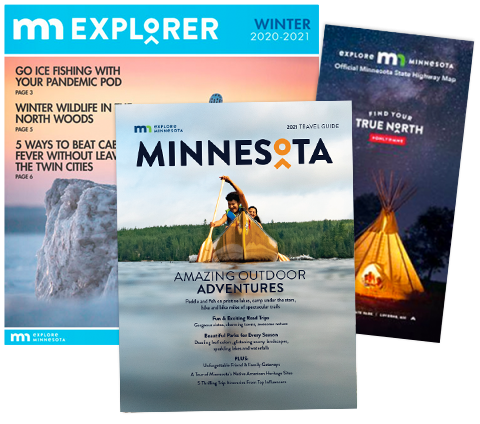 3 travel guides for mail order: MN Explorer Winter 20/21, Minnesota 2021 Travel Guide, and the Minnesota Highway Map