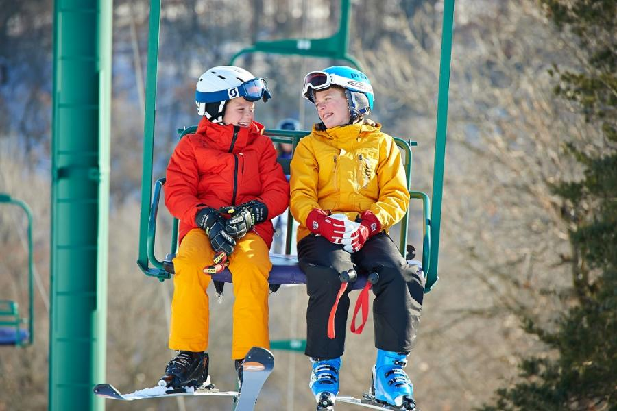 Afton Alps kids on chair lift