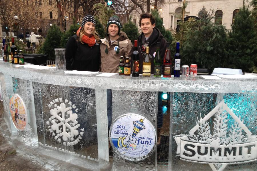 A bar made out of ice at the Saint Paul Winter Carnival