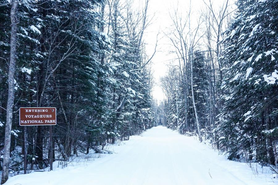 Voyageurs National Park entrance in winter