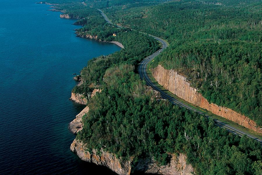 Aerial over North Shore Scenic Byway Tettegouche State Park