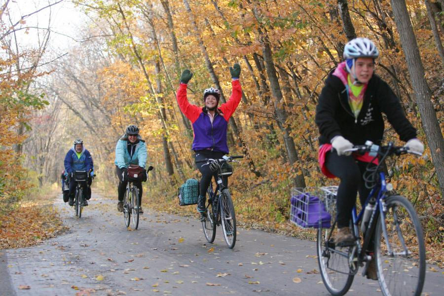 Fall bikers ride in the Mankato River Ramble