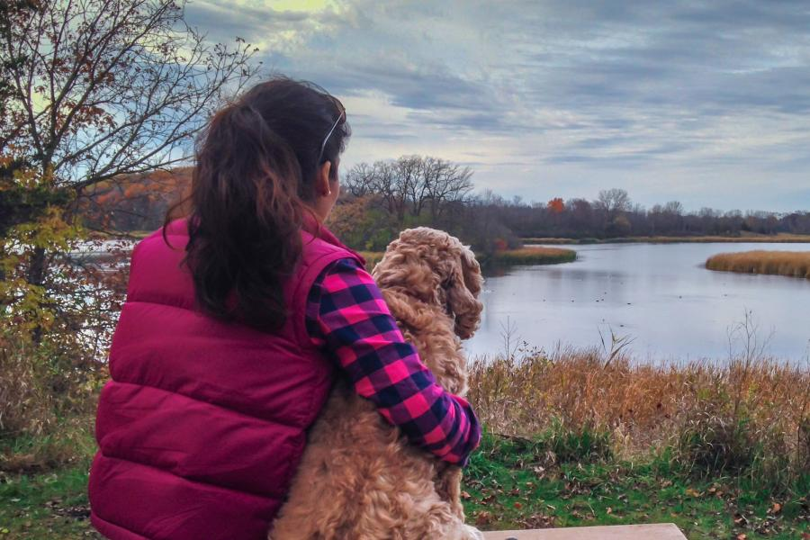 Carver Park woman with dog hiking