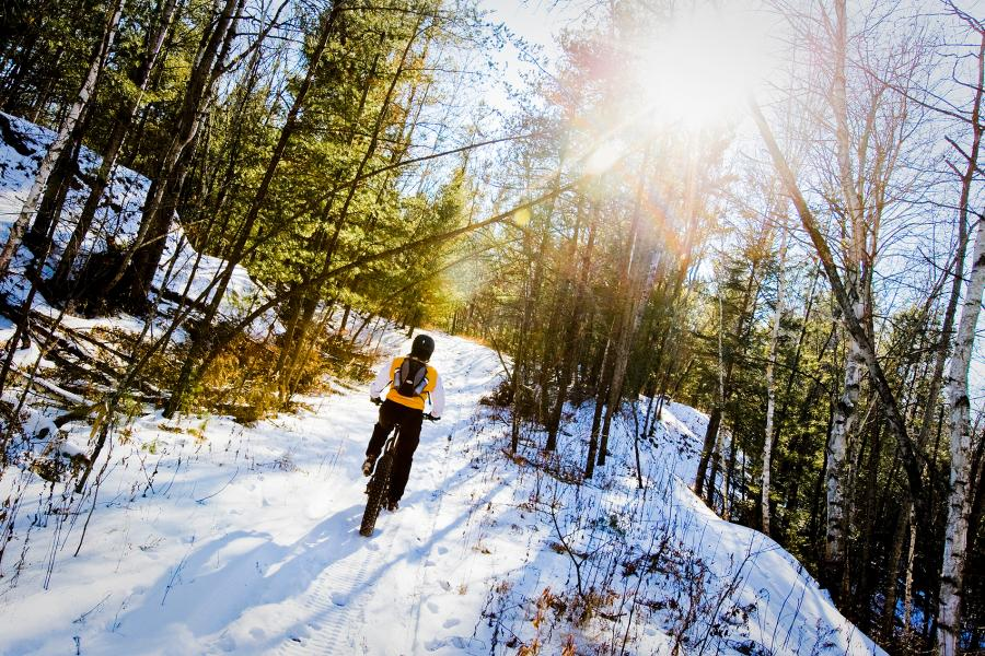 Fat tire biking in the winter on the Cuyuna Yawkeye Trail