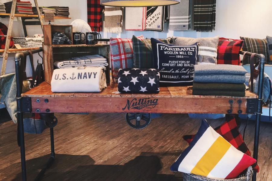 Display at Faribault Woolen Mills store