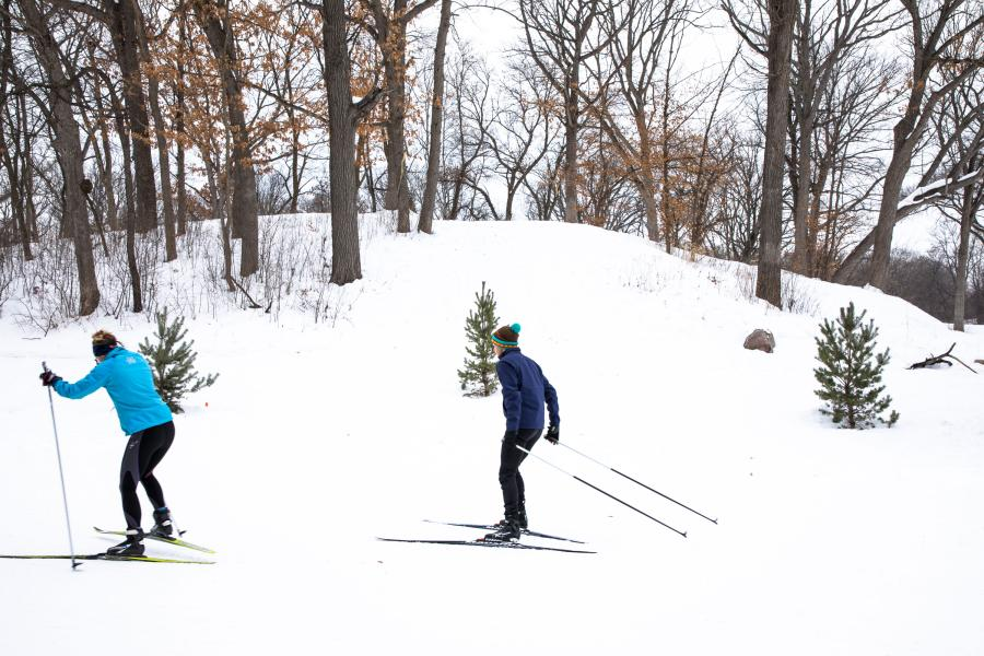 Cross-country skiers at Theodore Wirth Park