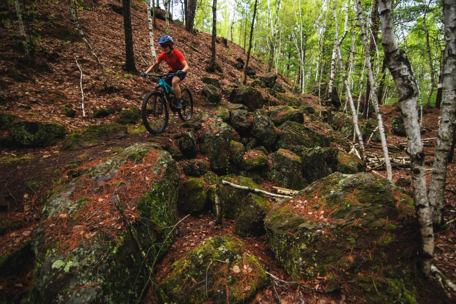 Riding down the rock garden at Cuyuna