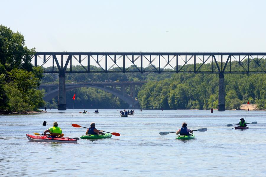 Kayakers at Mississippi Gorge Regional Park in Minneapolis
