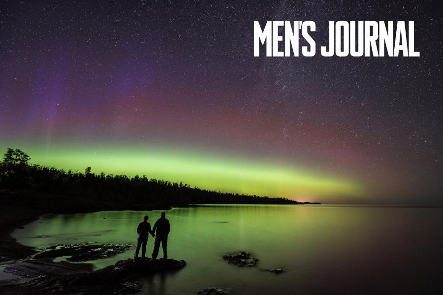 For media room a couple watches the northern lights at gooseberry falls