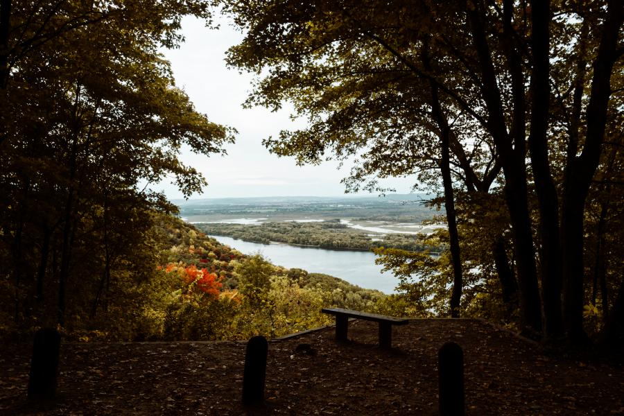 Looking out over the Mississippi River from a scenic overlook at Great River Bluffs State Park