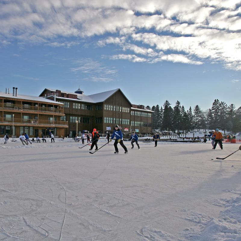 Pond hockey game at Breezy Point Resort