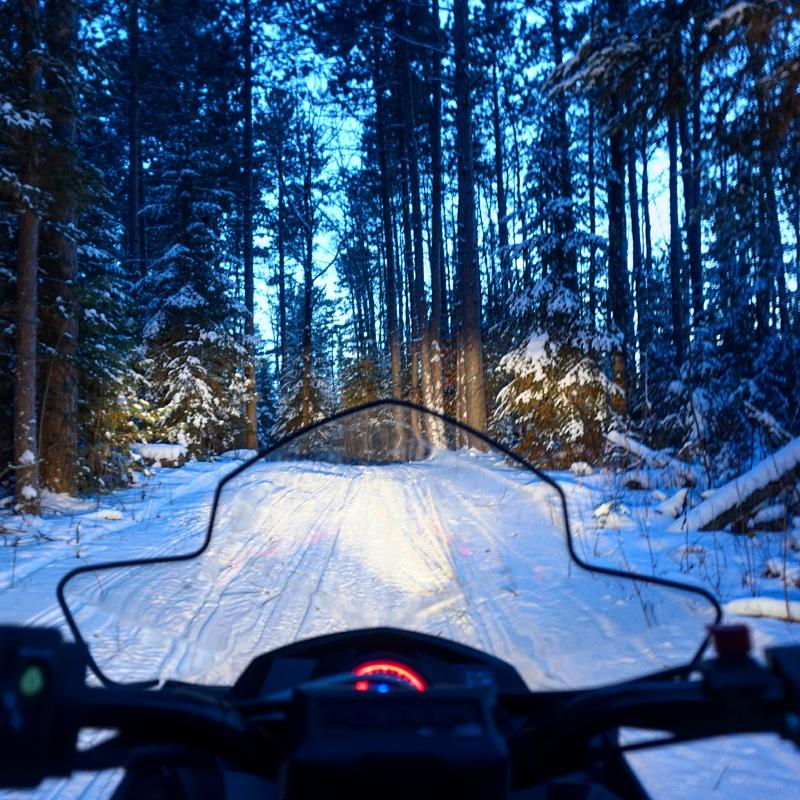 Snowmobiler in Voyageurs National Park
