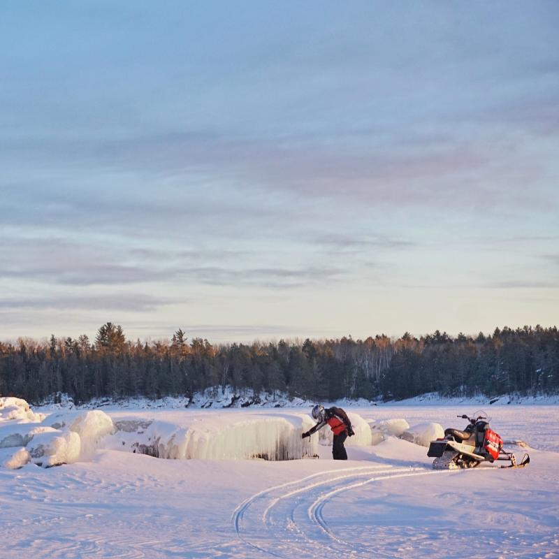 Voyageurs National Park snowmobile on frozen lake