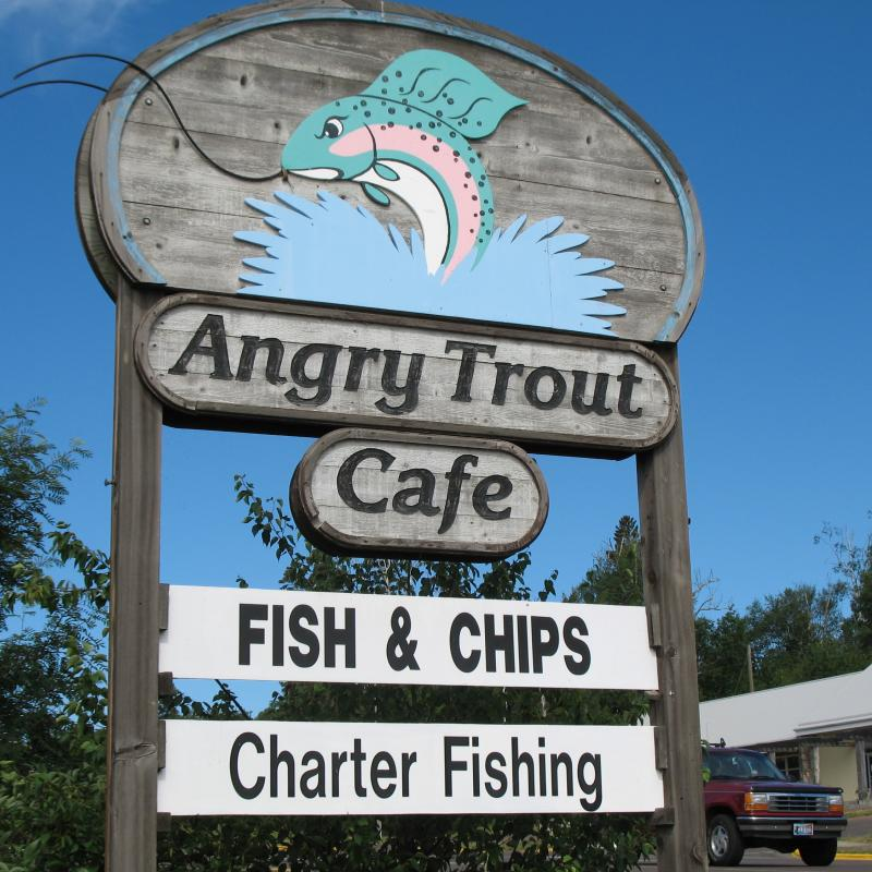 Angry Trout Cafe sign in Grand Marais