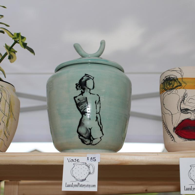 Three vases on shelf at Art in the Park in Lanesboro