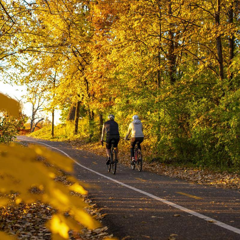 Two bicyclists on the Cedar Lake Trail