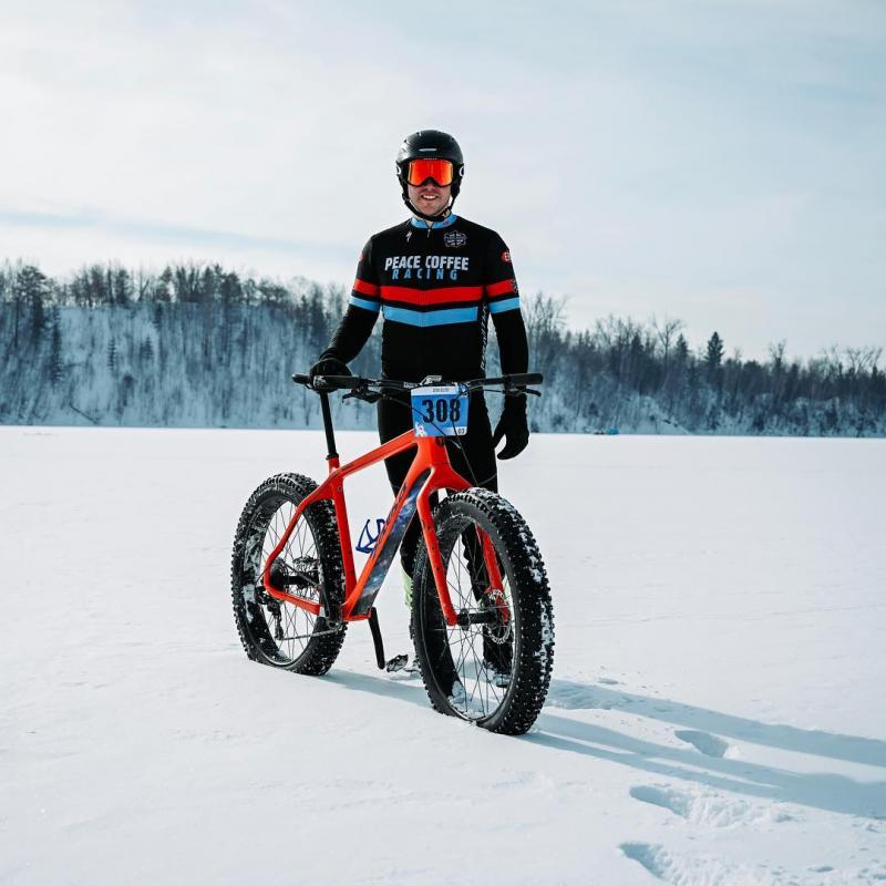 Winter fat bike racer at Cuyuna