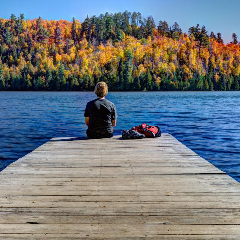 Fall colors at Mic Mac Lake in Tettegouche State Park