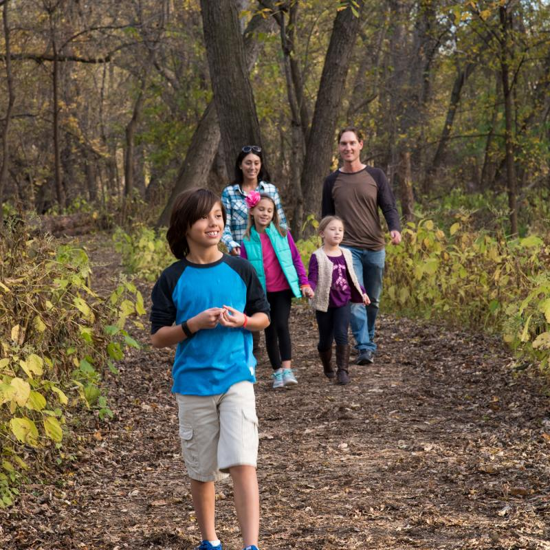 Family hike at Fort Snelling State Park
