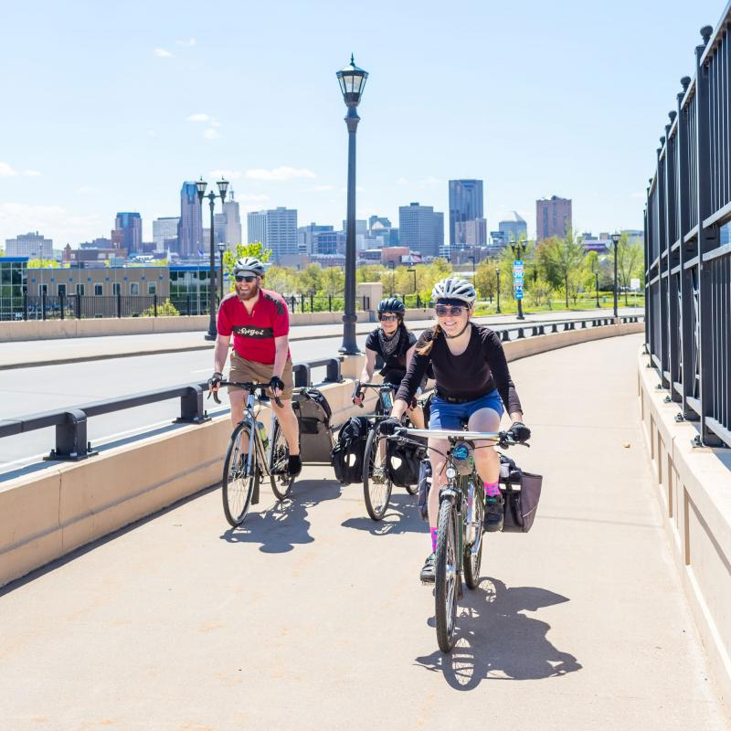 Bicyclists on Bruce Vento Trail in St. Paul