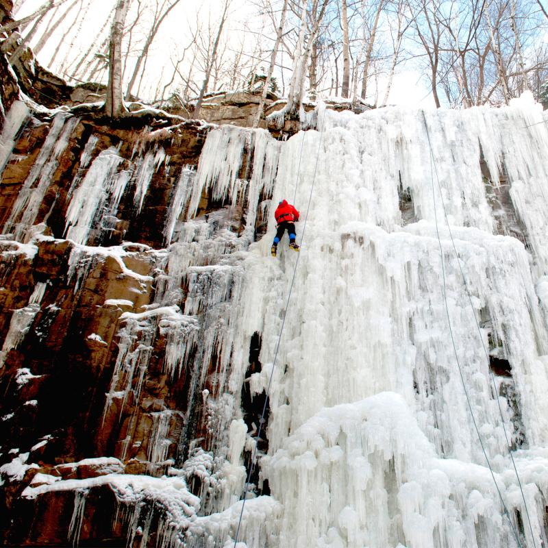 Ice climbing Robinson Park in Sandstone