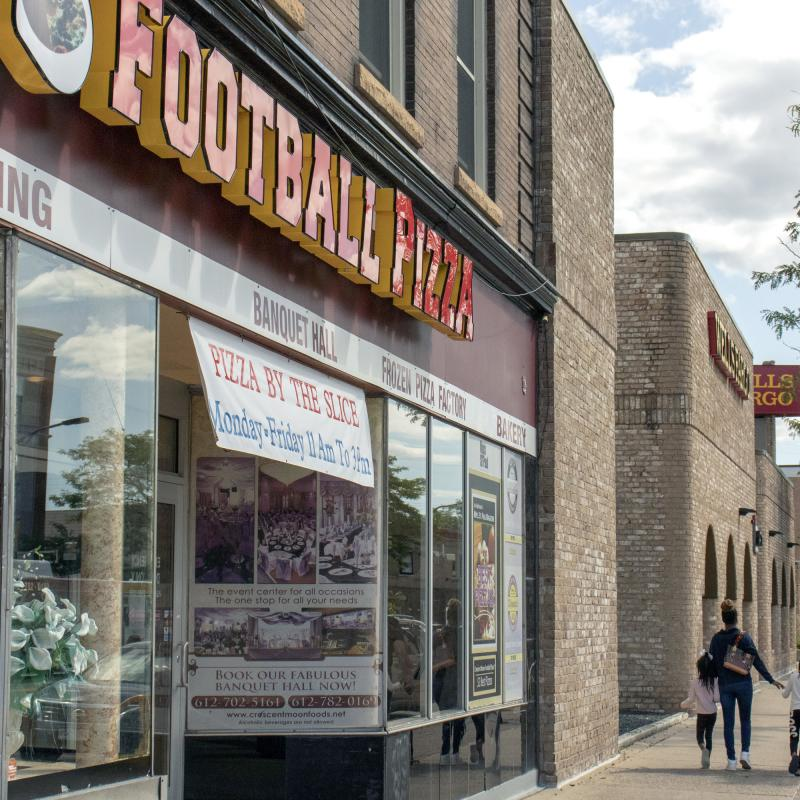 Exterior of Football Pizza restaurant in Minneapolis