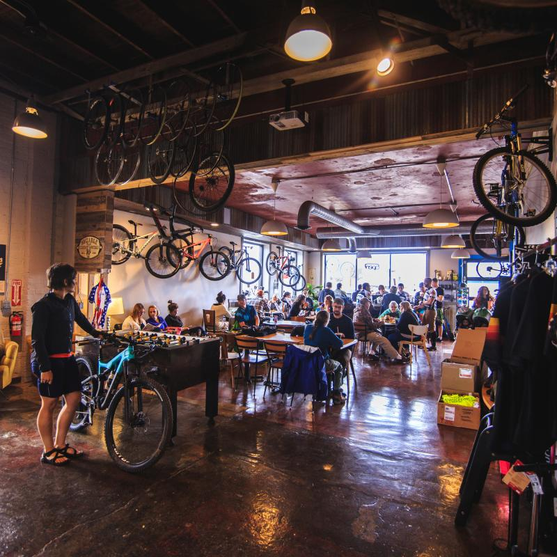 Interior of Red Raven bike shop and cafe
