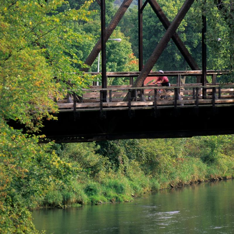 Bicyclist rides on a bridge above the Root River