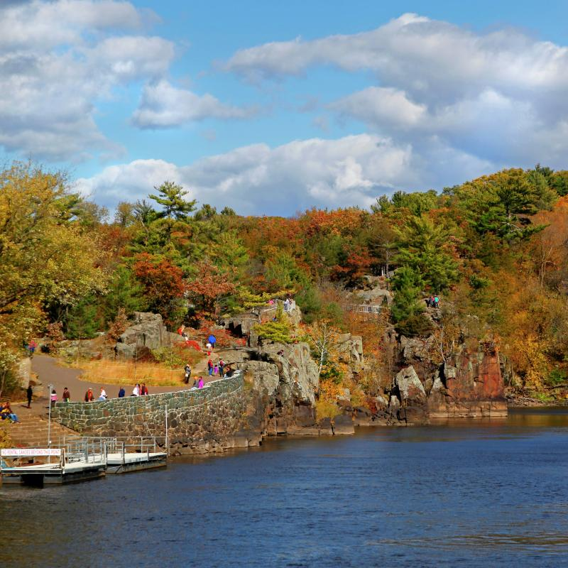 People in a park with fall trees overlooking the St. Croix River