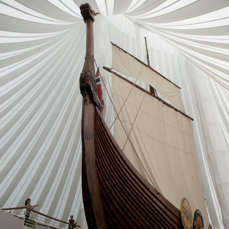 Viking ship at Hjemkomst Center in Moorhead