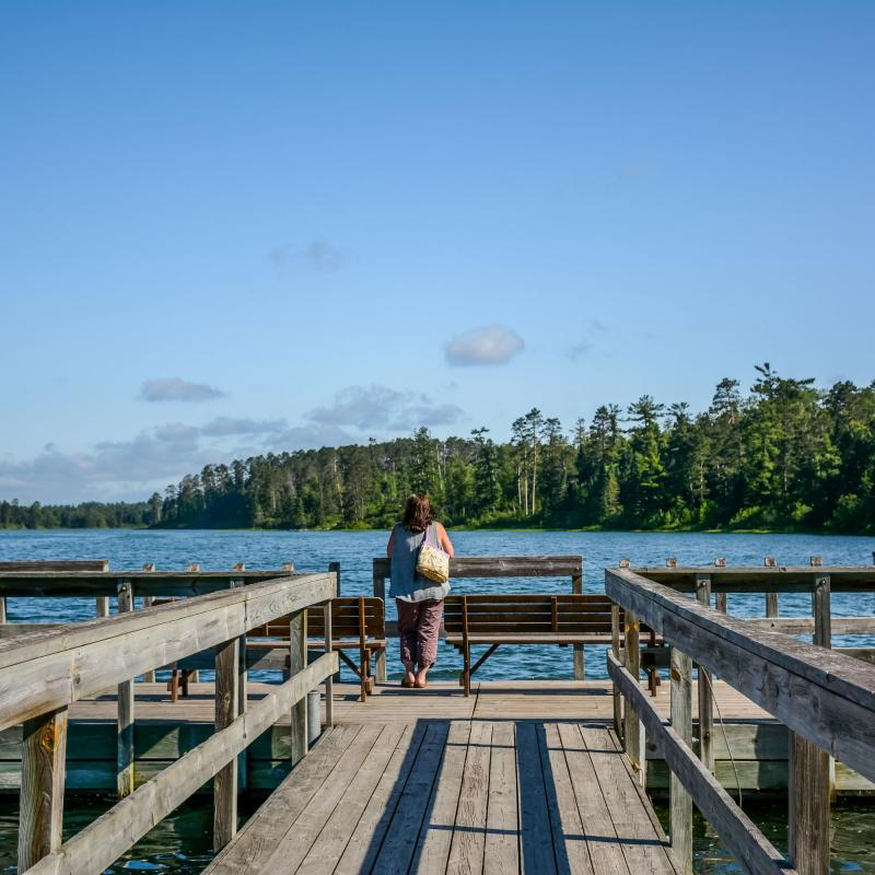 Woman on dock at Itasca State Park