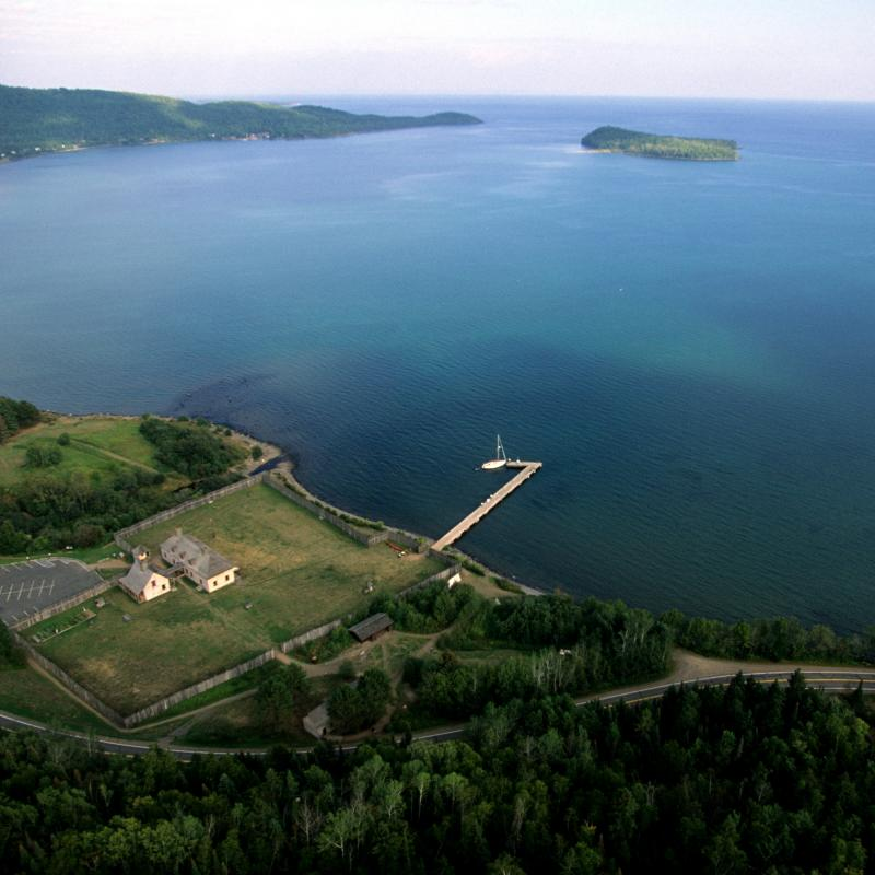 Aerial Grand Portage National Monument Lake Superior