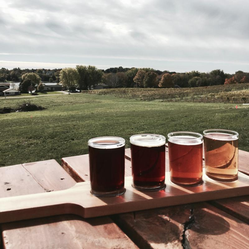 Beer flight at Schram Vineyards