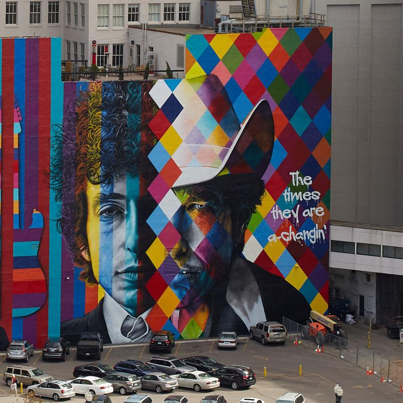 Bob Dylan mural downtown Minneapolis