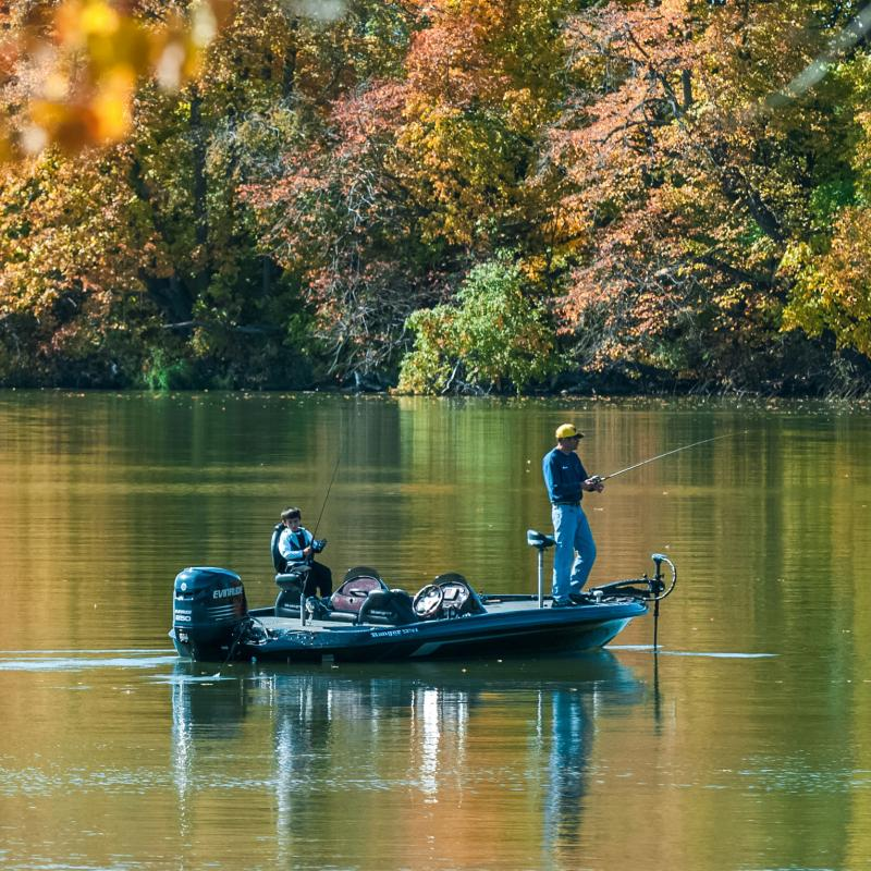 Fall fishing from a motorboat