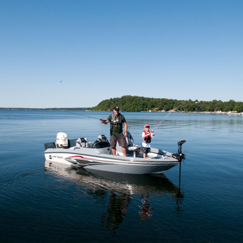 Father and son fishing on Gull Lake