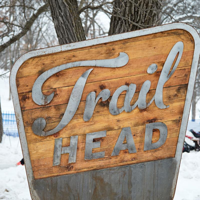 Trail Head sign at Theo Wirth Park