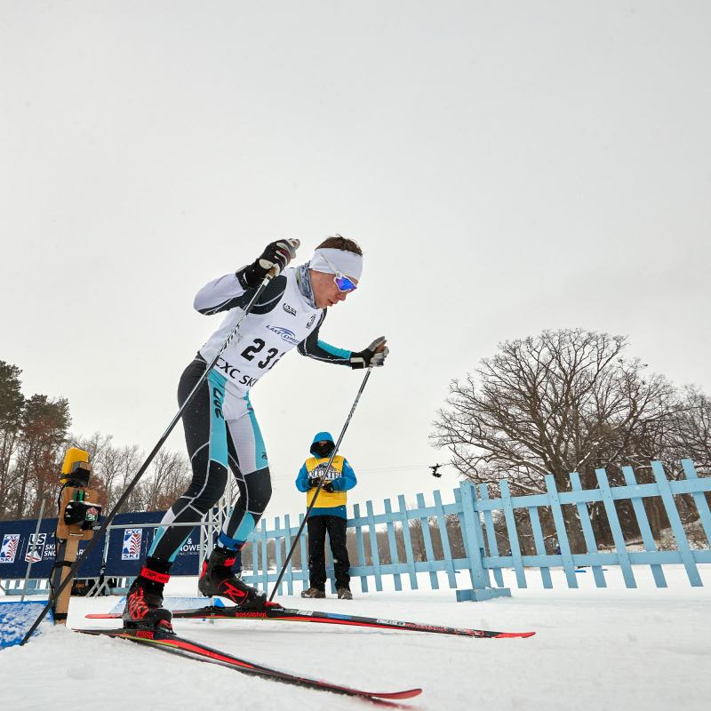 Cross country ski racer at Theo Wirth Park