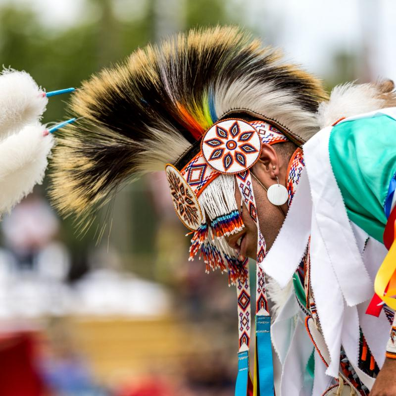 Native American pow wow dancer in regalia