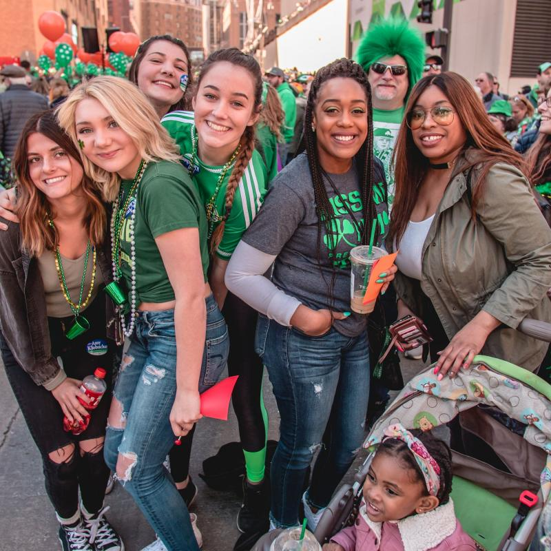 Group of friends at St. Patrick's Day Parade