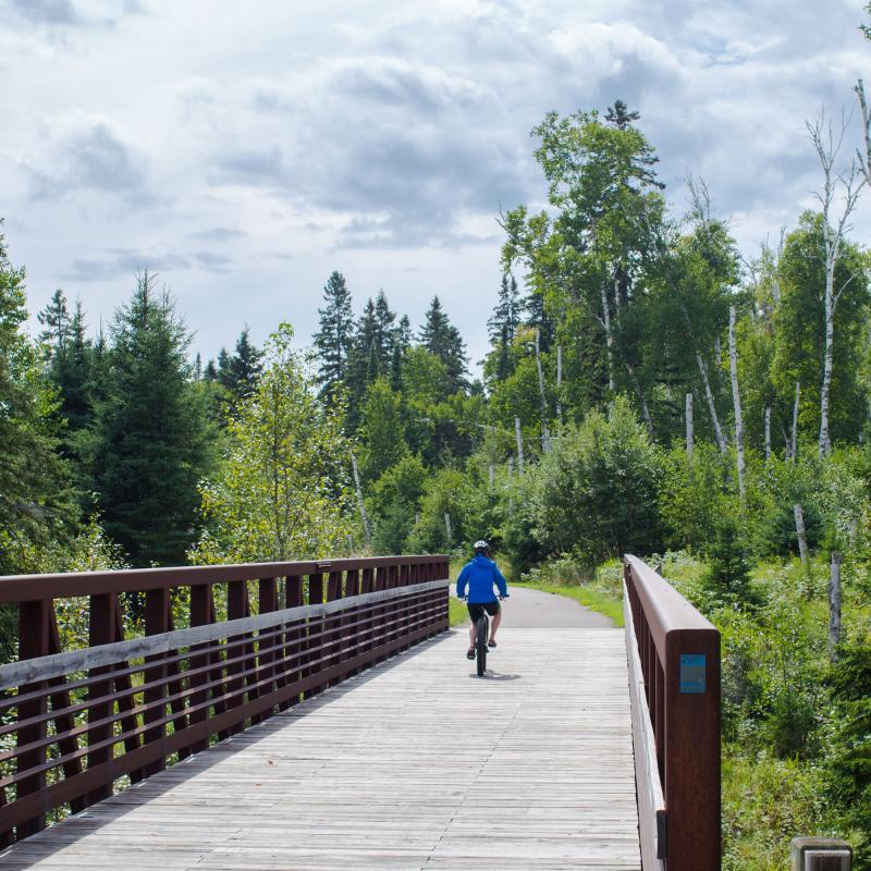 Biking on Gitchi Gami State Trail