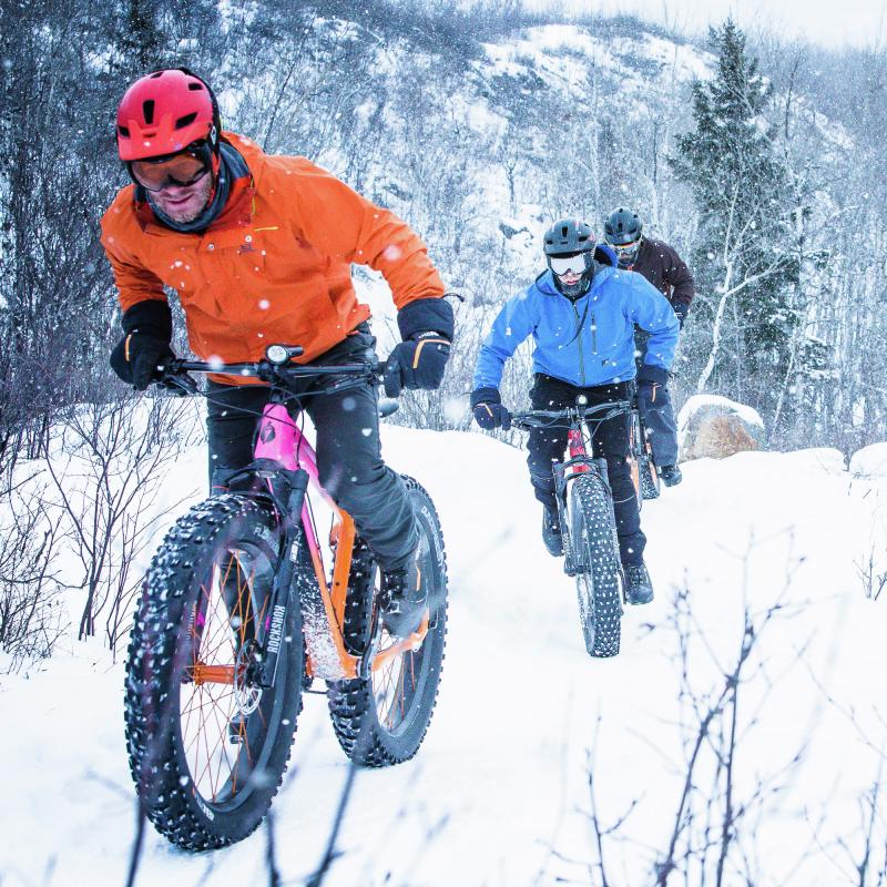 Three fat bikers in the snow near Duluth