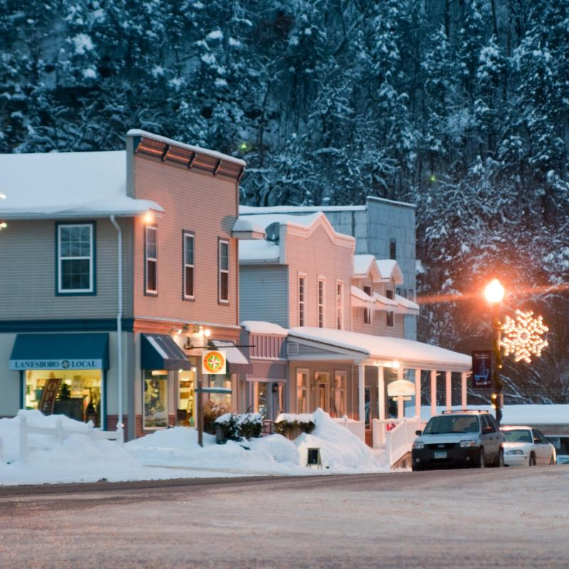 Downtown Lanesboro main street in winter